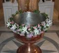 Ρόζ λευκή γυρλάντα βάπτισης