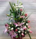 Σύνθεση με Λυσίανθο τριαντάφυλλα και οριεντάλ