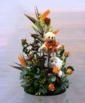 Flower arrangement in plate