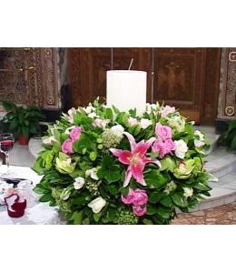Στολισμός Λαμπάδας Γάμου με Ορχιδέα και Τριαντάφυλλα