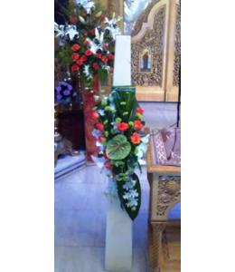 Στολισμός Λαμπάδας Γάμου με Πορτοκαλί Τριαντάφυλλα σε Κερί Πυραμίδα