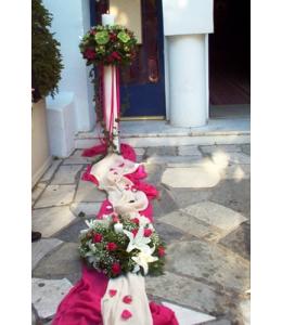 Στολισμός Λαμπάδας Γάμου με Φούξια Τριαντάφυλλα