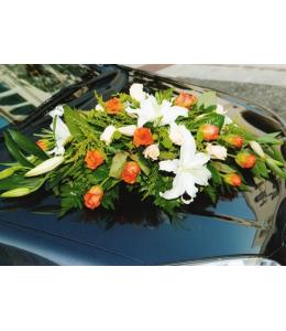 Στολισμός Αυτοκινήτου Γάμου με Πορτοκαλί Τριαντάφυλλα