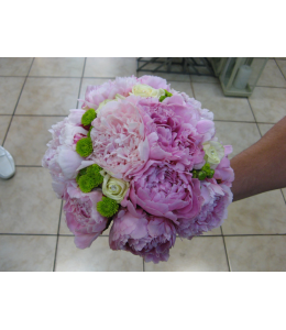 Bridal bouquet with peony and roses