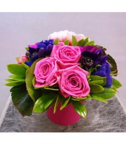 Arrangement with roses in pot