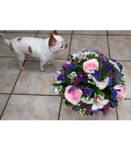Basket with seasonal flowers