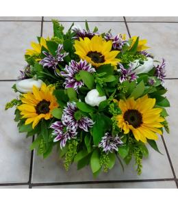 seasonal flowers in a basket