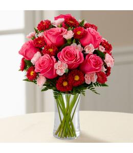 Στρογγυλή σύνθεση λουλουδιών