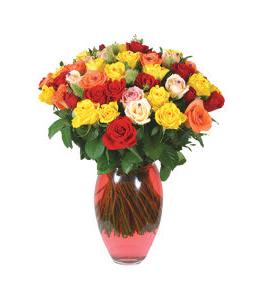 Μπουκέτο με διάφορα τριαντάφυλλα