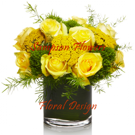 Yellow Roses in Glass