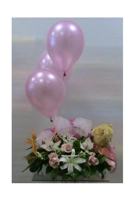 Σύνθεση - Καλάθι - Λουλούδια για Γέννηση