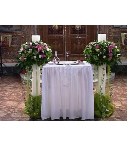 Στολισμός Λαμπάδας Γάμου με Τριαντάφυλλα Άκουα και Ορχιδέα