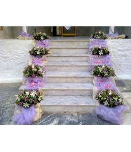 Στολισμός Γάμου Εξωτερικού Διαδρόμου Εκκλησίας με Άκουα Τριαντάφυλλα