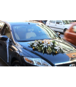 Στολισμός Αυτοκινήτου Γάμου Λευκός-Κίτρινος