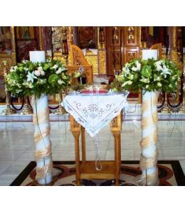 Στολισμός Λαμπάδας Γάμου με Τριαντάφυλλα Ταλέα και Ορχιδέα