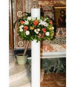 Στολισμός Λαμπάδας Γάμου με Πορτοκαλί και Λευκά Τριαντάφυλλα