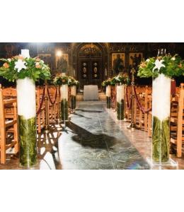 Στολισμός Γάμου Εσωτερικού Εκκλησίας με Πορτοκαλί Τριαντάφυλλα