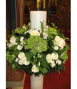Στολισμός Λαμπάδας Γάμου με Λευκά Τριαντάφυλλα και Λευκό Λυσίανθο
