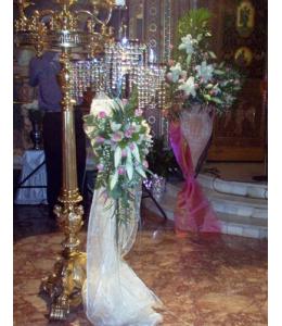Στολισμός Λαμπάδας Γάμου Φωτιστικό Δαπέδου και Ανθοστήλη