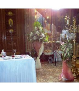 Στολισμός Λαμπάδας Γάμου Φωτιστικό και Ανθοστήλη