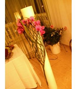 Στολισμός Λαμπάδας Γάμου με Φούξια Ορχιδέα