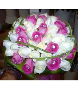 Νυφική Ανθοδέσμη με Λευκά και Άκουα Τριαντάφυλλα