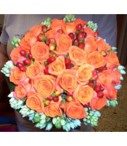 Νυφική Ανθοδέσμη με Πορτοκαλί Τριαντάφυλλα