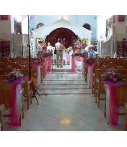 Στολισμός Γάμου Εσωτερικού Εκκλησίας σε Λευκές κα Φούξια Αποχρώσεις