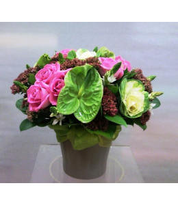 Flower Arrangement in Ceramic with Pink Roses