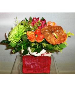 Flower Arrangement with Anthuriums and Alstromerias