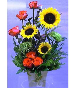 Σύνθεση με Ηλιους και Τριαντάφυλλα Πορτοκαλί
