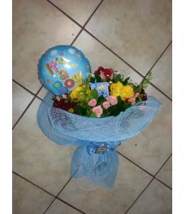 Μπουκέτο λουλούδια για γέννηση