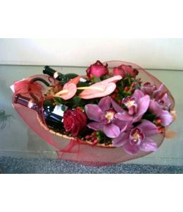 Flower arrangement with various wines