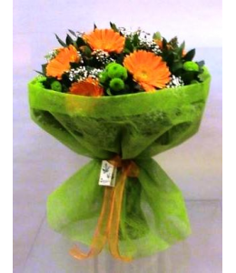 Bouquet with vibrant colors of gerberas and Santina