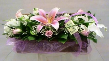 Flower Arrangement with Pink and White Oriental