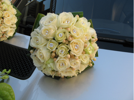 Bridal bouquet of roses white