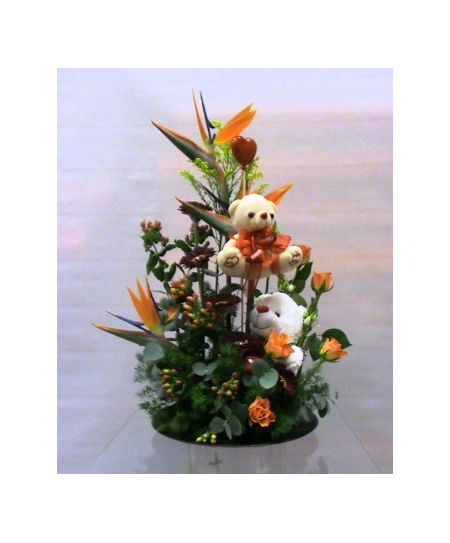 Flower arrangement in plate