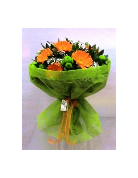 Μπουκέτο Λουλουδιών με Πορτοκαλί Ζέρμπερες